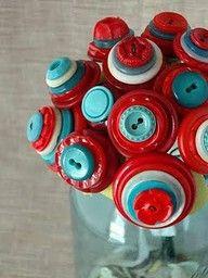 button flowers, red, color combos, flower bouquets, tiffany blue, button bouquet, buttons, aqua, blues