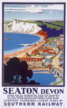 Seaton, Devon - Southern Railway Travel Poster.