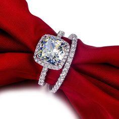 3 Ct Cushion Cut Diamond Engagement Wedding Ring by JacolizJewelry, $298.00