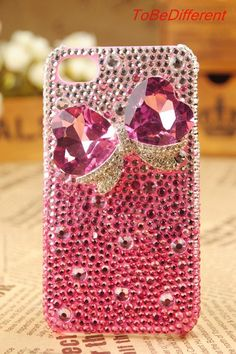 Pink Bowknot Case Handmade for Iphone 4 Case and by ToBeDifferent, $25.99