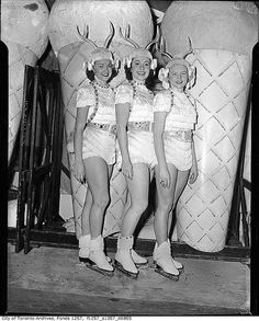 Maple Leaf Gardens ice show performers, Toronto, c. 1955. #vintage #Canada #1955s #skating