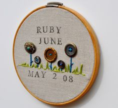 $22 Personalized Baby Name and Birthdate Embroidery with Button Garden