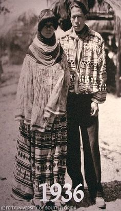 photograph taken in 1936 of a Seminole Indian Couple