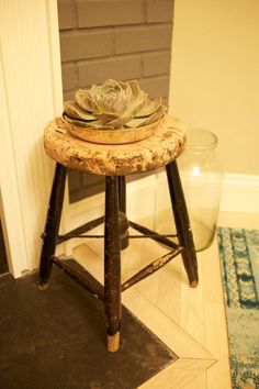 #WatchandPin Side stool next to fireplace with decorative plant. #DearGenevieve (Air Date: Sept 21 4:30pmEST)