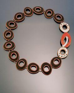 Necklace | Angela Gerhard. 'Cassadega'. Sterling silver and Vitreous enamel