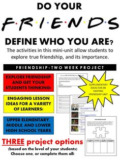 This activity pack includes a variety of resources to prepare a friendship-type unit, or to supplement an existing friendship unit. It includes a variety of activating activities, and three different project ideas.