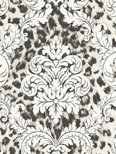 CHR11703 Gabriella from Christel is a black and cream leopard wallpaper with a cream damask overlay.