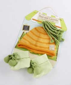 Peas & Carrots Beanie & Booties by Baby Aspen #zulily #zulilyfinds