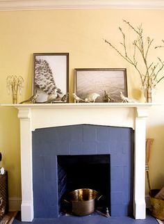 gorgeous contrast of colors & fireplace