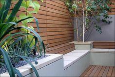 modern gardens, fenc, bench, contemporary gardens, patio