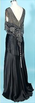 c. 1930's Black Silk Charmeuse Bias Cut Gown with Beaded Net Bodice.  The tassel in back makes this dress, I think!