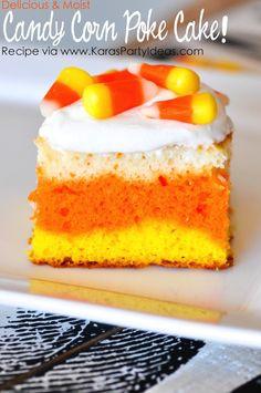 Delicious and Moist Candy Corn Poke Cake Recipe via Kara's Party Ideas KarasPartyIdeas.com #halloween #candycornpokecake #pokecake #candycorn #halloweendessertideas #halloweentreats #easyhalloweenrecipes