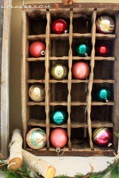 mantels, sodas, vintage holiday, pop bottles, vintage ornaments, old crates, glass ornaments, christmas ornaments, ornament display