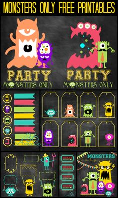 Monsters Party Free Printables at the36thavenue.com #MonstersU