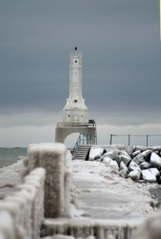 Image detail for -... , Wisconsin - Photos - Lighthouse in Winter Ice - by Hugh E. Hood