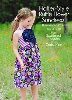 Free Pattern!  Simple Halter-Style Ruffled Flower Sundress - Free printable pdf pattern and tutorial (in sizes 3 to 8)  from www.scatteredth...