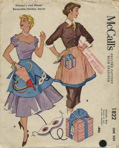 Vintage Apron Sewing Pattern | McCall's 1822 | Year 1953 | One Size | Reversible Holiday Apron