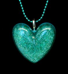 resin heart, heart pendant