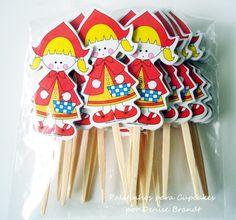 palitinhos para cupcake chapeuzinho R$15,00