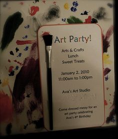 unique invitations idea for art theme parties or art events #art #painting #invitation