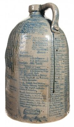 Anna Pottery Jug - late 1800's.  This is a wonderful piece - totally covered with tiny text...I have never seen anything like it.