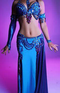 Blue beaded belly dance costume