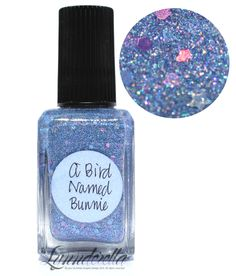 Lynnderella Limited Edition—A Bird Named Bunnie is a softly holographic periwinkle blue microglitter with assorted holographic accents in a clear pink-shimmered base.