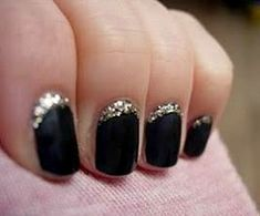sparkles nail polish, holiday nails, french manicures, glitter nails, black nails, matte black, french tips, black gold, new years