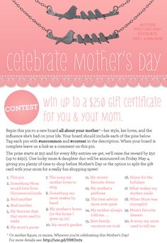 Contest! Win a 250 dollar shopping spree for you and your mom. Repin this pin to a board all about your mother, and follow the instructions. Be creative! You don't need a literal pin for every entry. Leave us a comment with a link to your board. Winner will be announced on May 4. More contest details here: http://unc.gd/HMOn7z