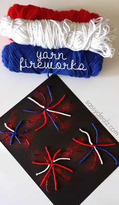 Yarn Fireworks Craft for Kids to Make - Fun for the 4th of July or Memorial Day