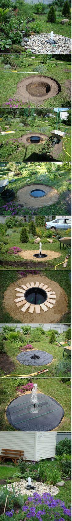 DIY Backyard Buried Fountain
