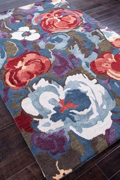 Transitional Floral Pattern Wool Blend Tufted Rug - Seaside Blue