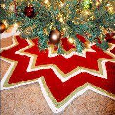 Twelve Pointed Star Christmas Tree Skirt - this crochet tree skirt is an heirloom in the making!