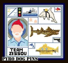 Team Zissou - 'The Life Aquatic' Cross Stitch Sampler Pattern/PDF  - INSTANT DOWNLOAD