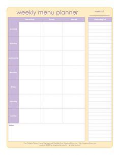menu planning worksheet