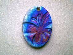 Butterfly Raku Bead Oval Focal Bead Ceramic by spinningstarstudio, $4.00