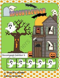 FREE Spooktacular Decompose number 5 Common Core aligned  from Fun and Learning on TeachersNotebook.com -  (6 pages)  - Children will enjoy playing this game where they spin ghosts and tell how many more would be needed to make a total of five.