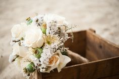 beach flowers in a vintage box