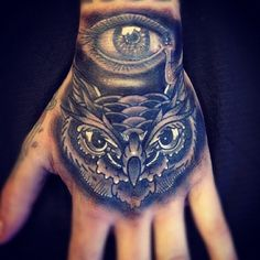 owl eye hand tattoo #tats #tattoos #ink #inked #tatts #tattoo