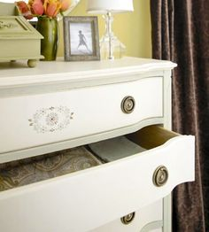 How To Dresser redo -- Bar Keeper's Friend and Bleach Water to clean; wood filler for holes; paint and use.