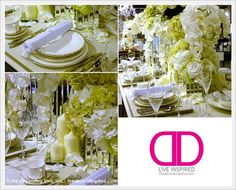 Romantic Fantasies: White Roses & Orchids, and Green Hydrangeas Draped Table | The Decorating Diva, LLC