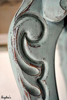 Annie Sloan's Chalk Paint. A coat of duck egg blue, clear wax with a hint of dark wax, and distress.