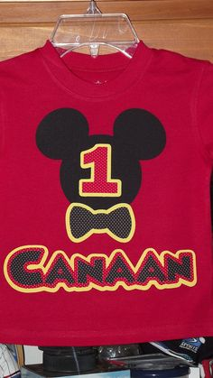 Mickey Mouse Clubhouse - Disney Birthday Party Custom Red Black Yellow T-Shirt Applique Tee Shirt Top. $18.00, via Etsy.