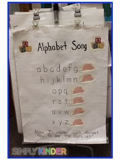 Easy way to break up the alphabet so the kids don't blend the letters together!  This and more chart poems your kindergarten students will love!