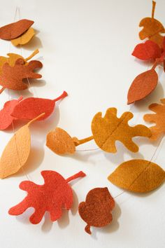 Autumn Leaves & Acorns Felt Garland - Fall Decor - Thanksgiving Decor