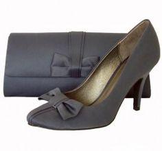 Menbur Matt Grey Satin Heeled Ladies Shoes. Grey wedding shoes