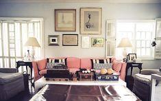 couch, vintage photos, color, living room art, frame arrangements, dusty pink, framed art, blush pink, vintage living