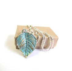 Dainty leaf necklace silver plated tiny necklace by agatechristina, $14.00