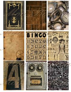 Steampunk Digital Collage Sheet of Vintage Background by monbonbon, $2.99