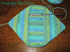 "The pattern is the Folded Crochet Pot Holder by Michelle Gibbs on Ravelry. You can also find it on her blog ""The Boring Knitter"" if you are not a Ravelry person. It's very simple!"